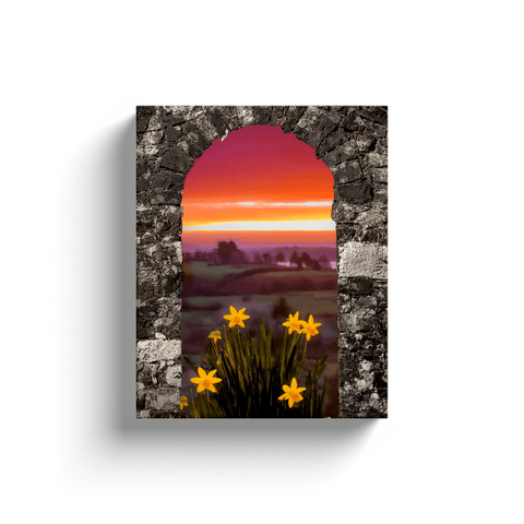 Image of Canvas Wraps - Spring Daffodils and County Clare Sunrise Canvas Wrap Moods of Ireland 8x10 inch