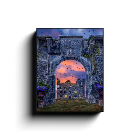 Image of Canvas Wrap - Leamaneh Castle and Entrance Gate Reunited, County Clare - James A. Truett - Moods of Ireland - Irish Art