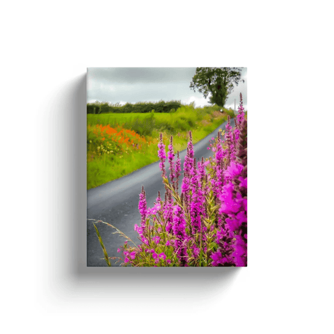 Image of Canvas Wraps - Wildflower-lined Irish Country Road Canvas Wrap Moods of Ireland