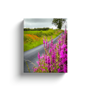 Canvas Wraps - Wildflower-lined Irish Country Road Canvas Wrap Moods of Ireland