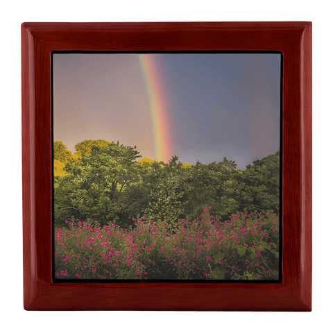 Image of Jewelry Box - Irish Rainbow and Wildflowers in County Clare Jewelry Box teelaunch Red Mahogany