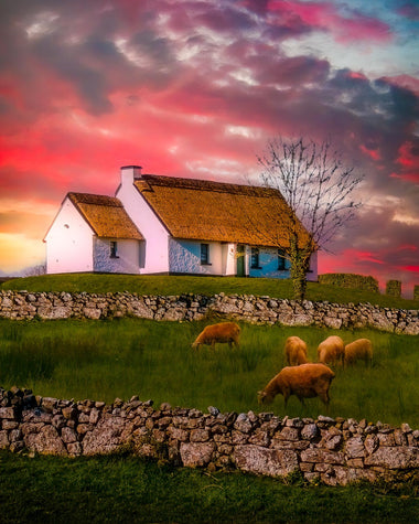 Irish Thatched Cottage on a Hill, County Clare