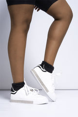 Leesh Glitter Trainer in White Trainers Miss Diva