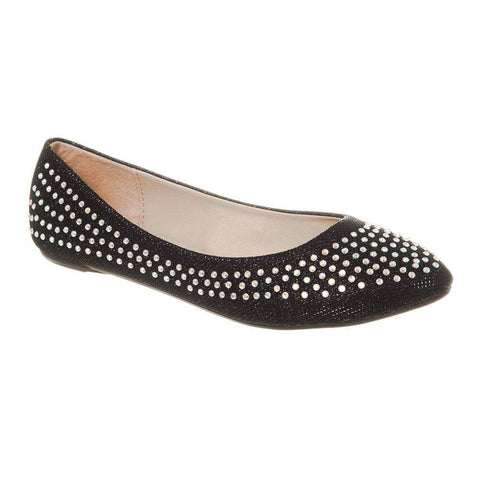 Grace Pointy Toe Flat Ballet Pump With Diamante All Over