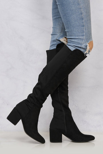 Chrissy Blockheel Over Knee Boot In Black Suede