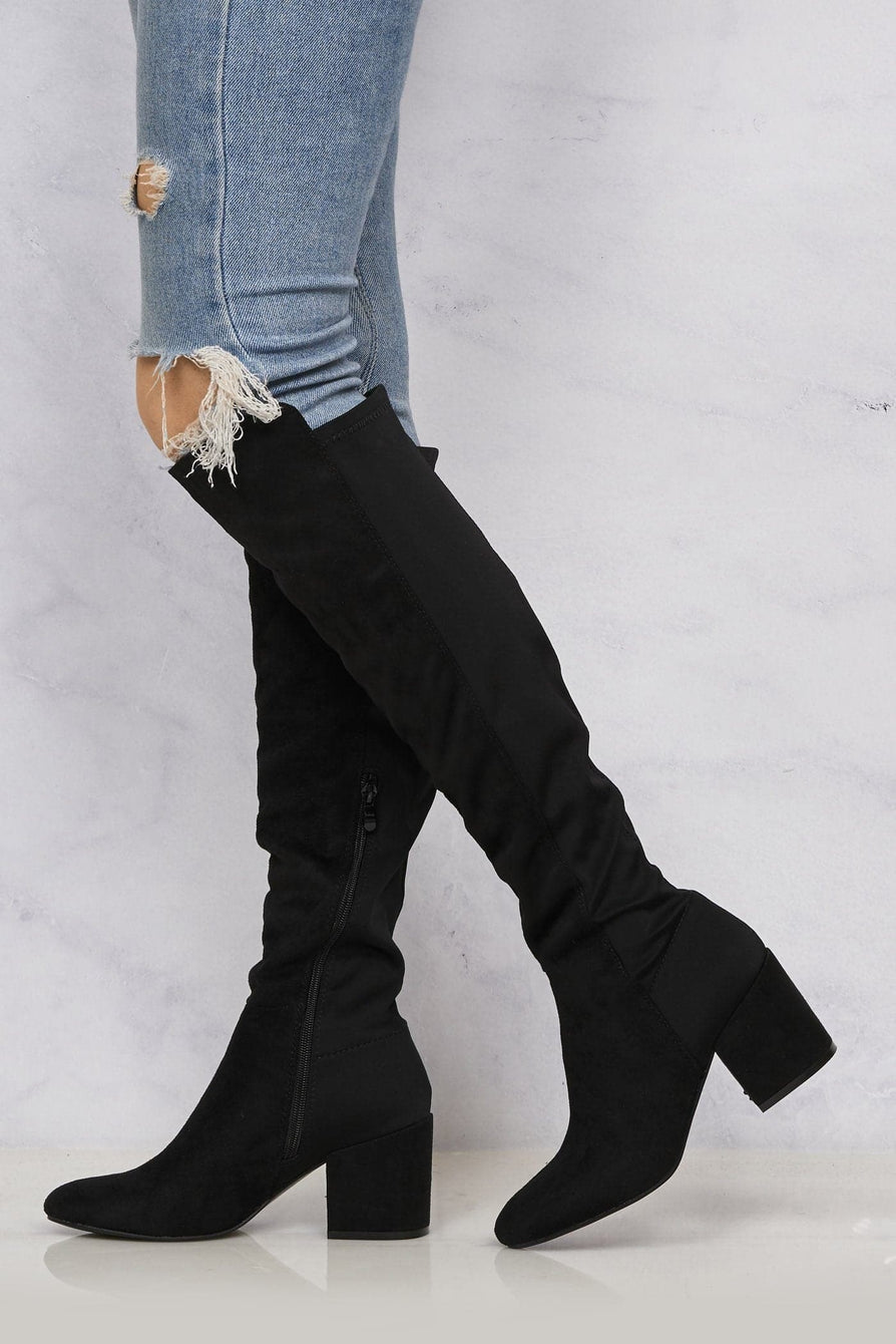 Ivy Blockheel Over Knee Boot In Black Suede