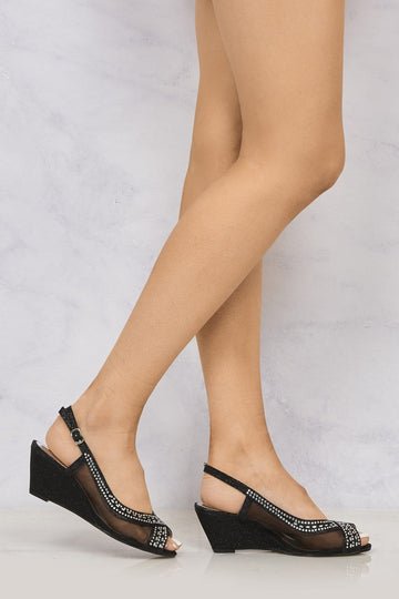 Marvi Med Wedge Mesh Sling Back in Black Clearance Miss Diva Black 3