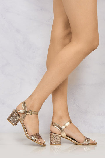 Ruby block heel glitter ankle strap In Rose Gold Clearance Miss Diva ROSE GOLD 3
