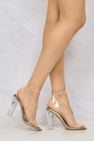Gotta Clear Idea Block Heel Clear Strap Sandal in Rose Gold