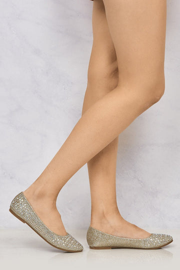 Round Toe Stone Encrusted Pump in Champagne