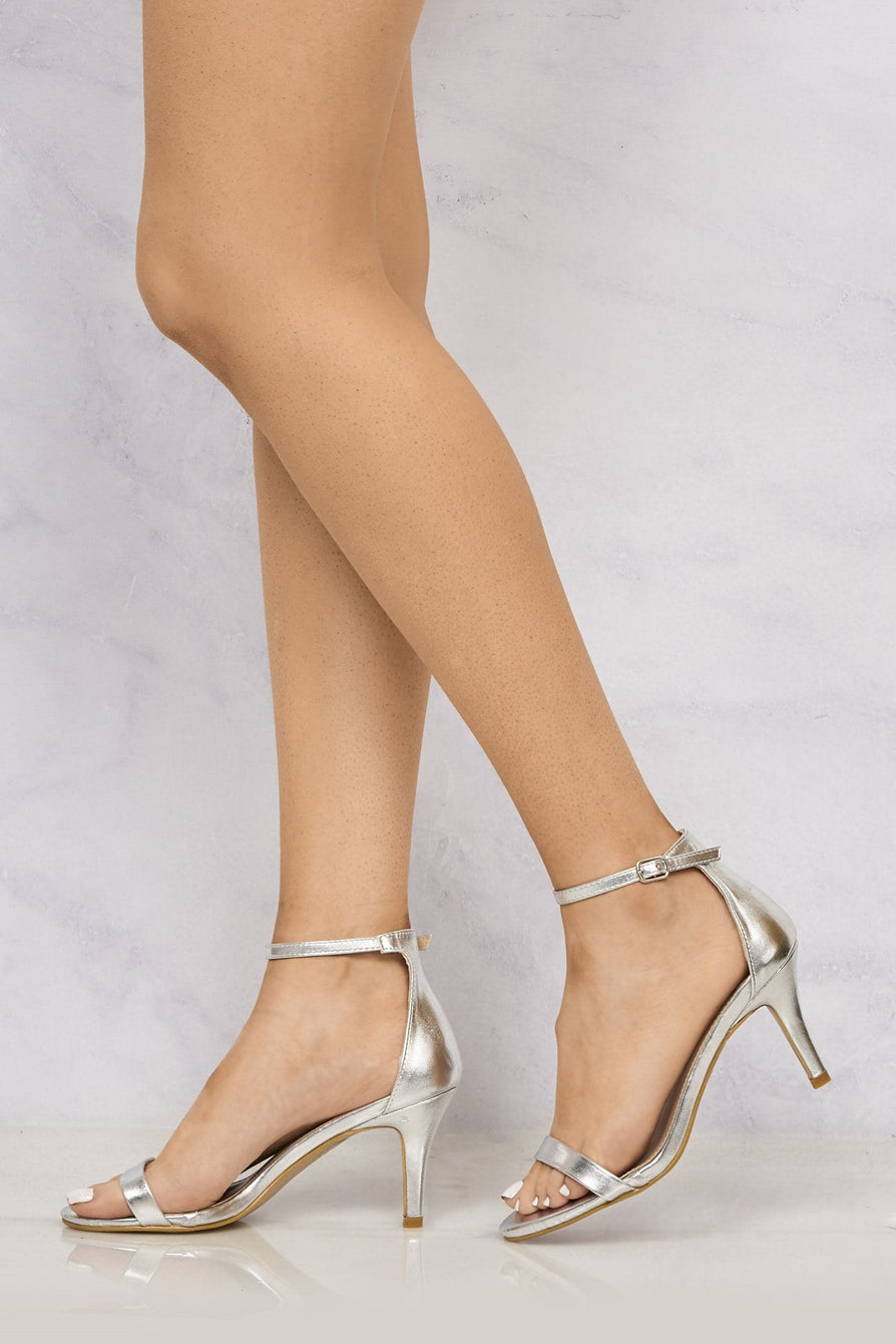 Open Toe Ankle Strap Sandal in Silver