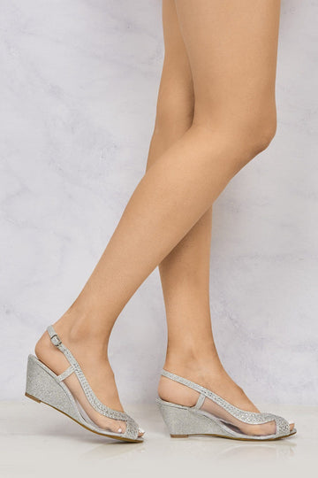 Marvi Med Wedge Mesh Sling Back in Silver Clearance Miss Diva Silver 3