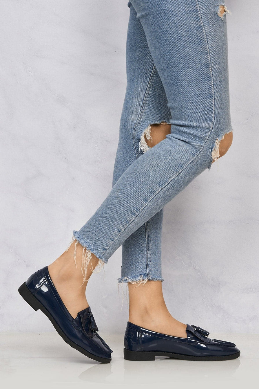 Fringe & Tassel Loafer in Navy