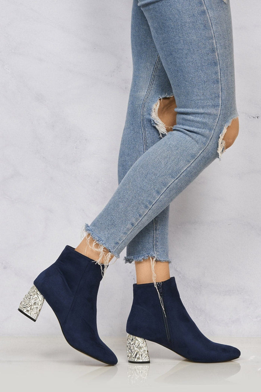 Ponntoon Stone Encrusted Heel Ankle Boot in Navy