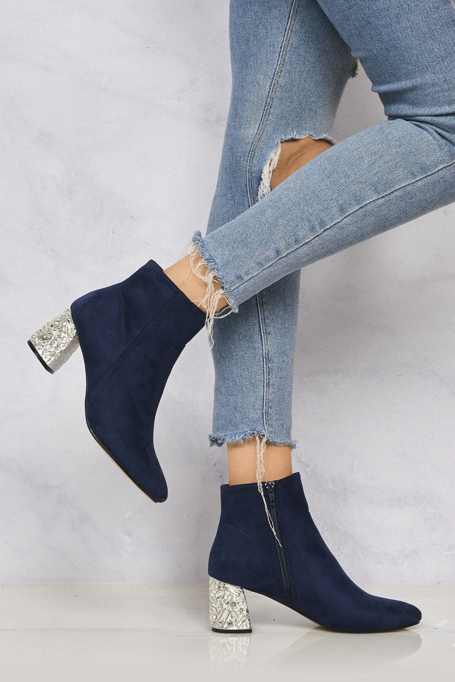 Ponntoon Stone Encrusted Heel Ankle Boot in Navy Clearance Miss Diva
