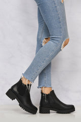 Solo Elastic Cleated Sole Ankle Boot in Black Matt