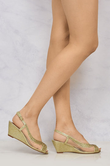 Marvi Med Wedge Mesh Sling Back in Gold Clearance Miss Diva Gold 3