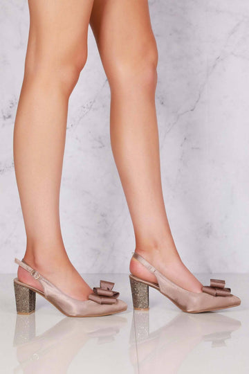 Kirra slingback with bow trim court in Mocha Satin