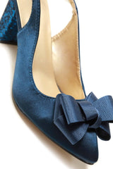 Kirra slingback with bow trim court in Navy Satin