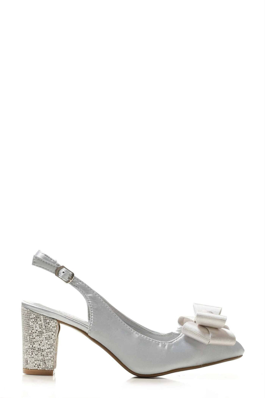 Kirra slingback with bow trim court in Silver Satin
