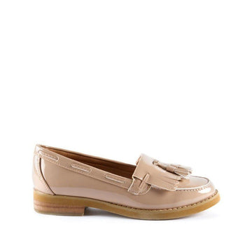 Hetty Flat Fringe Toggle Loafer in Nude Patent