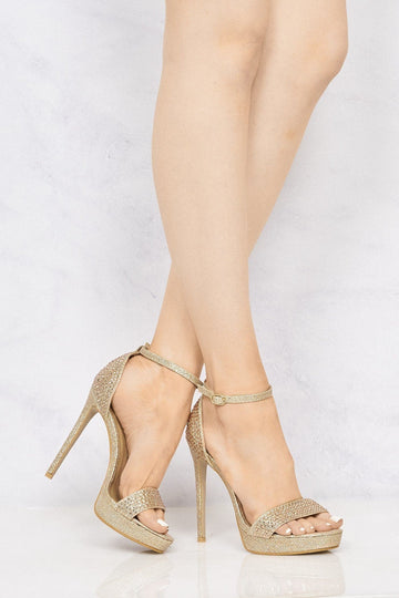 Maia Diamante Platform Anklestrap Sandal In Rose Gold