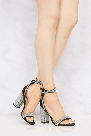 Karla Diamante Band & Heel Anklestrap Sandal In Black Suede