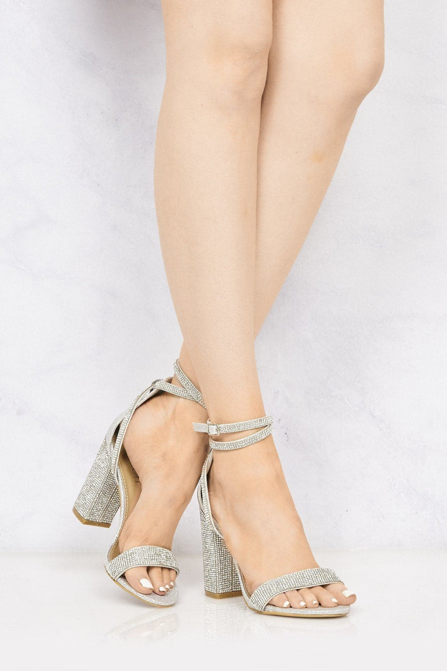 Karla Diamante Band & Heel Anklestrap Sandal In Silver Mesh Partywear Miss Diva Silver Mesh 3