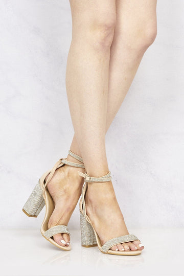 Karla Diamante Band & Heel Anklestrap Sandal In Nude