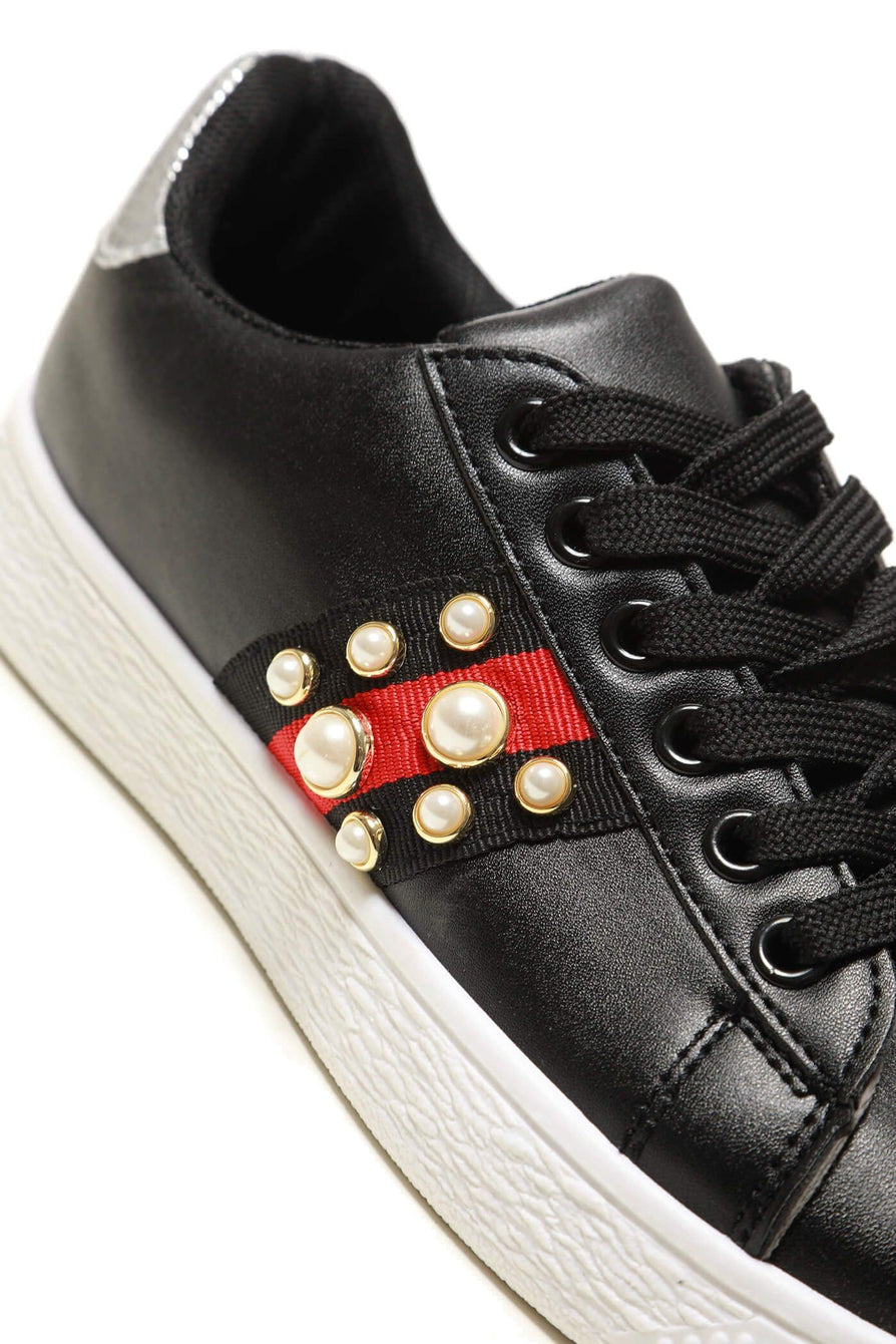 Ginnie pearl embellished three stripe trainer Black