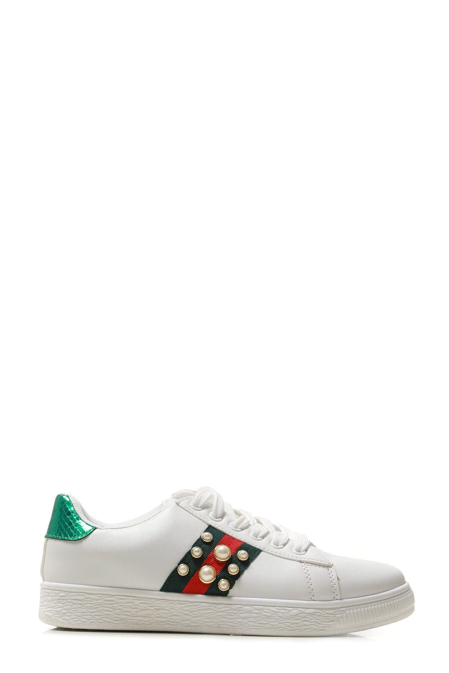 Ginnie pearl embellished three stripe trainer in White
