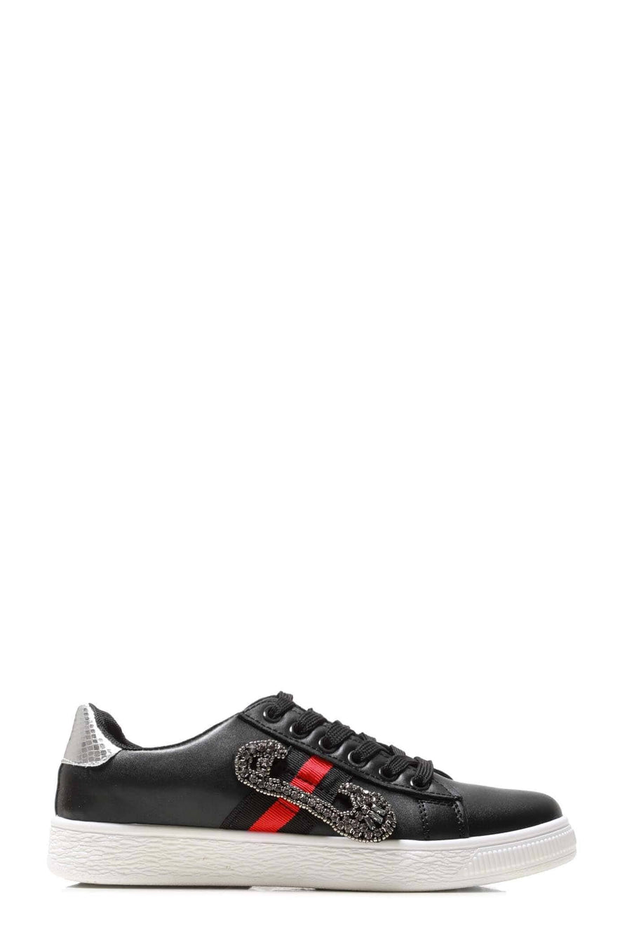 Giovanna Sequin Embellished Three Stripe Trainer In Black