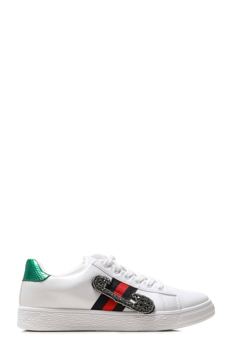 Giovanna Sequin Embellished Three Stripe Trainer In White