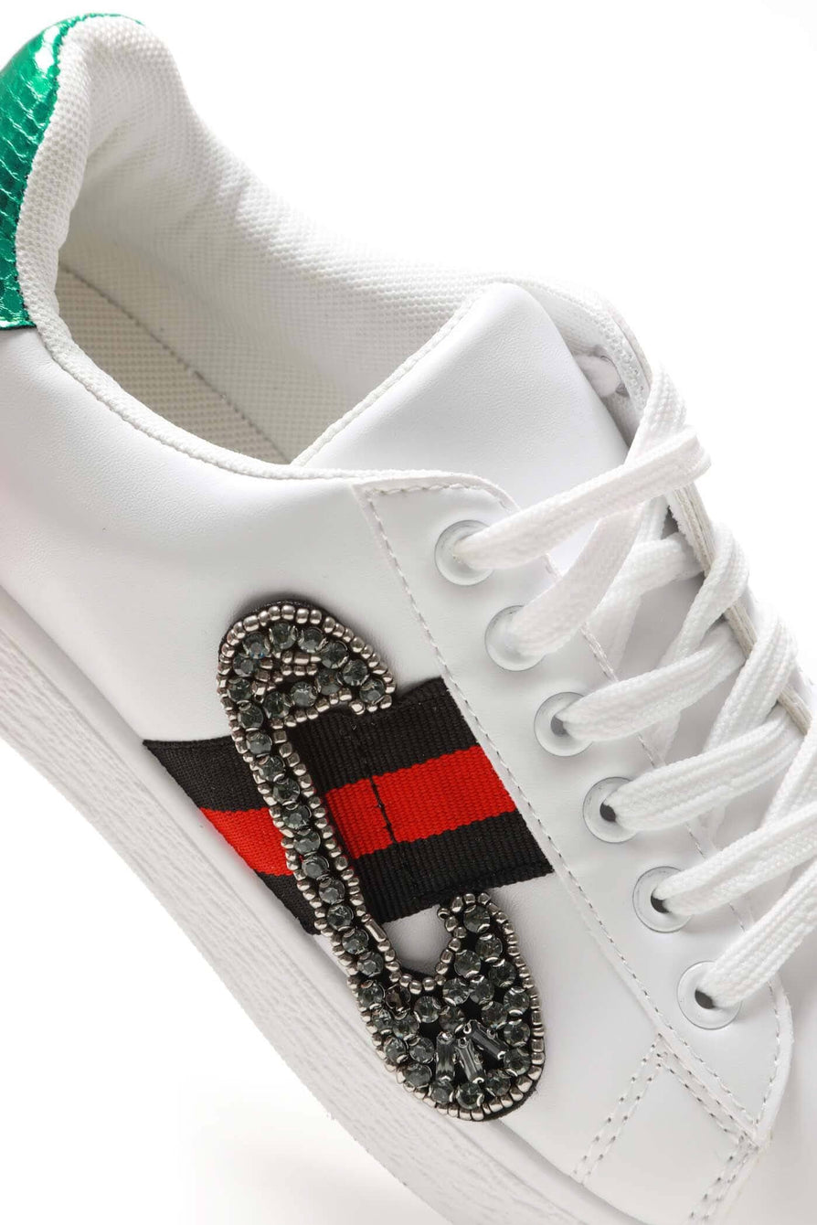 Giovanna sequin embellished three stripe trainer
