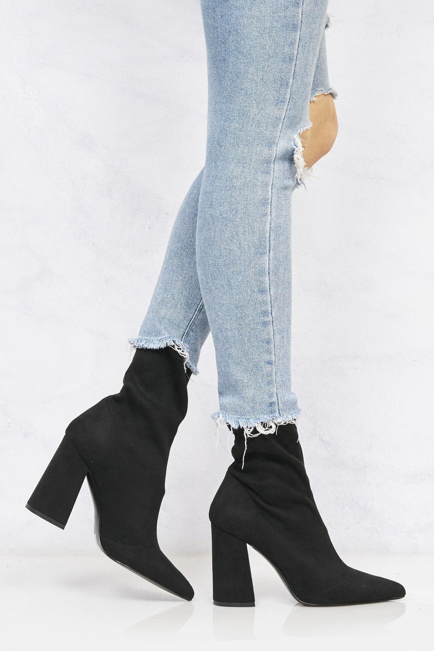 Everly Pointed Toe Flare Heel Calf Boot in Black Suede Boots Miss Diva Black Suede 3