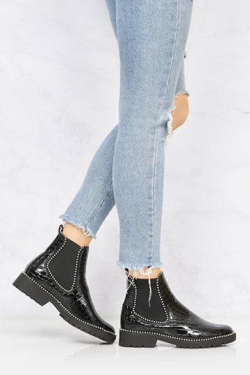 Emma Stud Detailing Sole Ankle Boot In Black Silver Croc