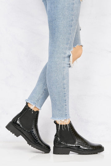 Emma Stud Detailing Sole Ankle Boot In Black Black Croc