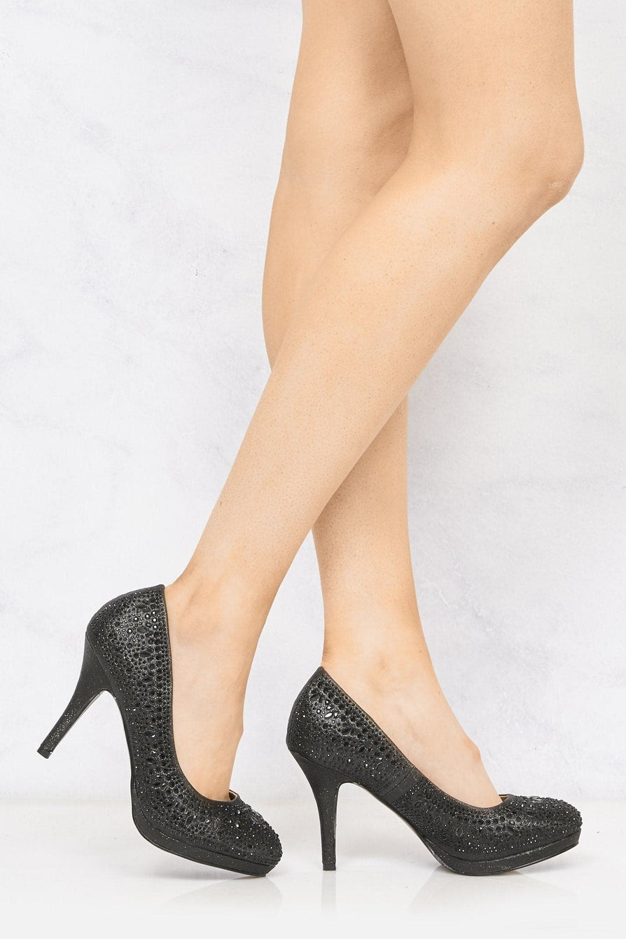 Best Friend Round Toe Platform Diamante Shoe In Black Partywear Miss Diva Black 3