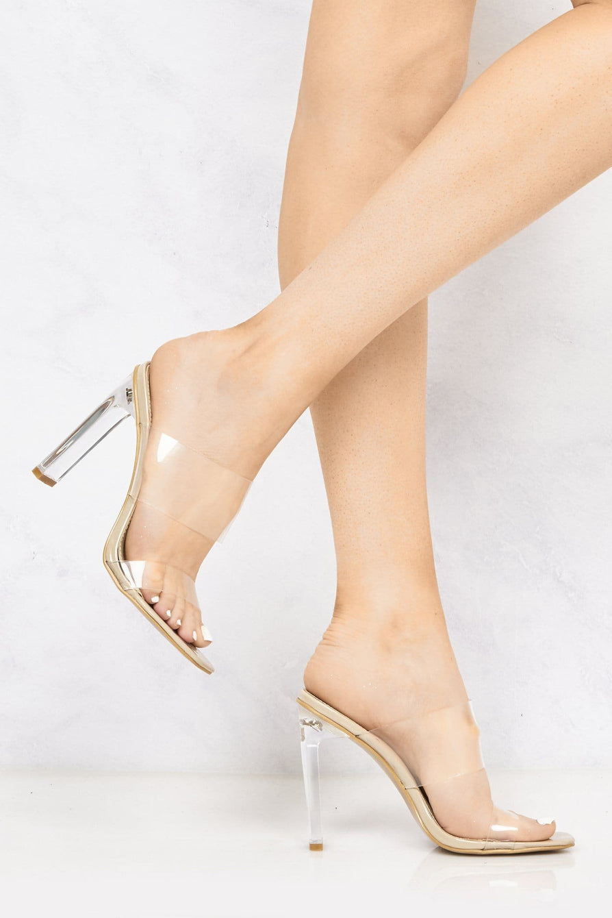 Highlight Perspex Band Flare Heel Mule in Nude