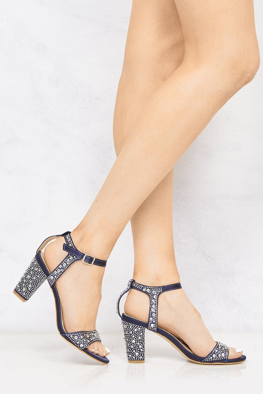 Dia Stud Anklestrap Sandal In Navy Partywear Miss Diva Navy 3