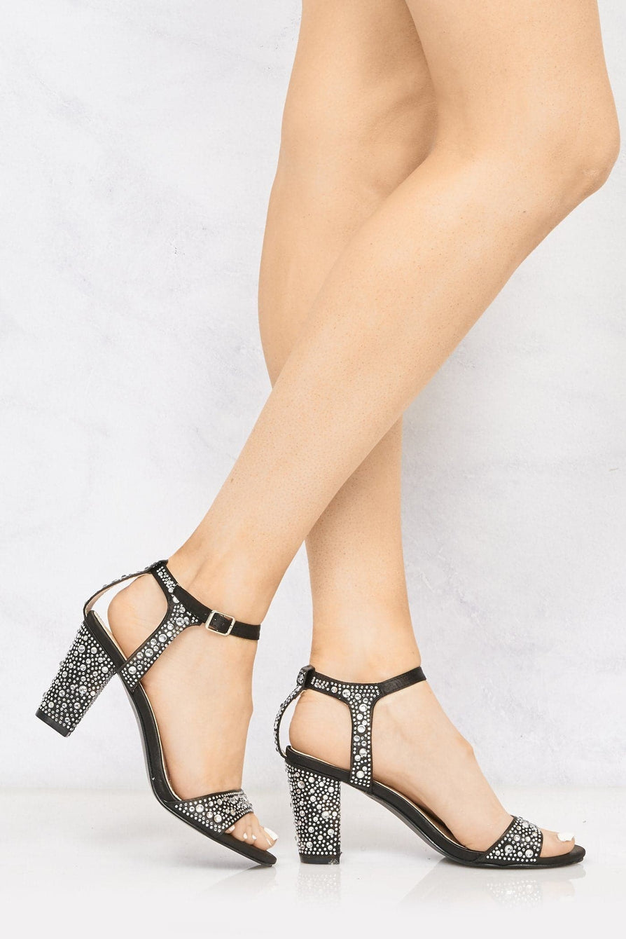 Hot Step Dia Stud Anklestrap Sandal In Black