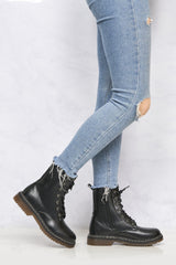 Kat Double Sole Lace Up Boot in Black Matt