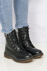 Kat Double Sole Lace Up Boot in Black Matt Boots Miss Diva