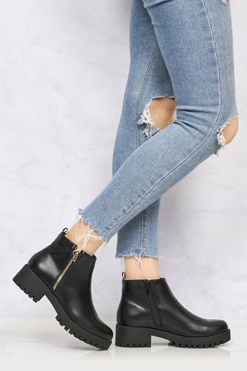 Ola Side Zip Cleated Sole Ankle Boot in Black Pu