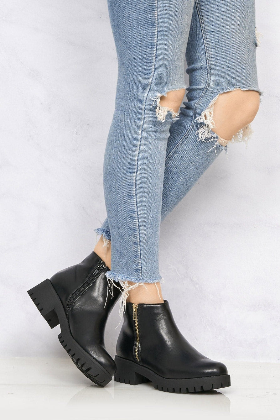 Kasper Side Zip Cleated Sole Ankle Boot in Black Pu Clearance Miss Diva