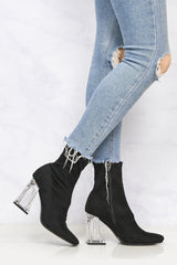 Pharella Pointed Glass Heel Calf Boot in Black Suede Clearance Miss Diva Black Suede 3