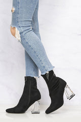 Pharella Pointed Glass Heel Calf Boot in Black Suede Clearance Miss Diva
