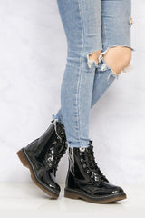 Kat Double Sole Lace Up Boot in Black Patent