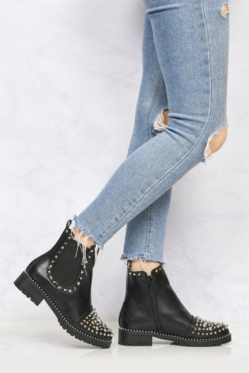 Tasha Stud & Spike Detail Ankle Boot in Black Matt