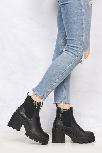 Jaz Cleated Sole Platform Ankle Boot in Black Matt